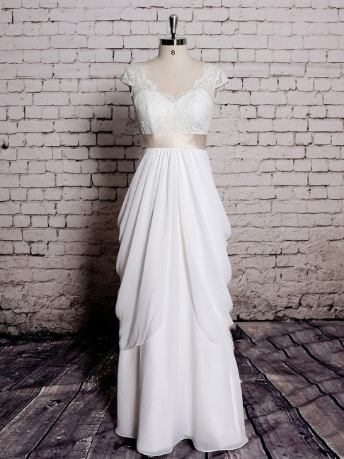 Cap Sleeve Draped Lace Beach Wedding Dress