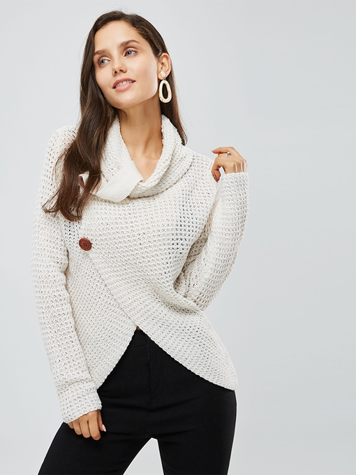 Asymmetric Heap Collar Loose Button Decor Women's Sweater