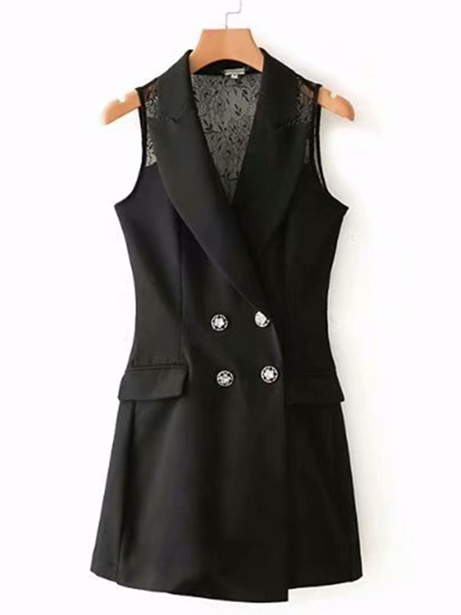 Lace Patchwork Mid Length Sleeveless Women's Blazer