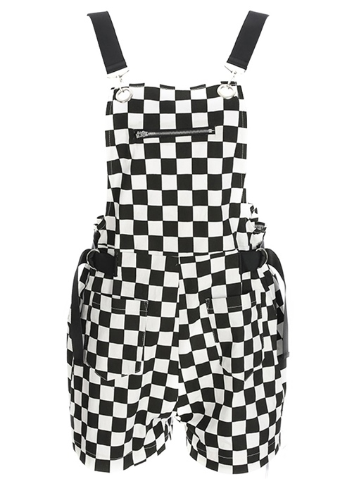 Grid Print Shorts Women's Overalls