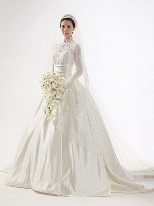 High Neck Lace Long Sleeve Vintage Wedding Dress