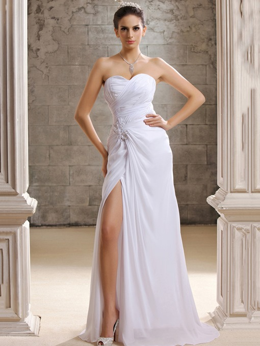 Strapless Appliques Split-Front Beach Wedding Dress