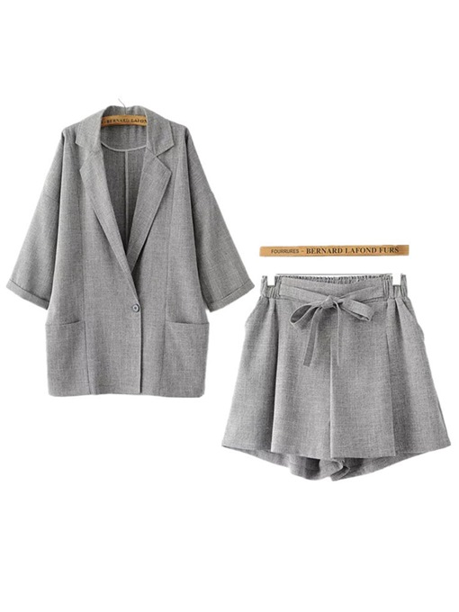 Plain Lapel Long Sleeve Blazer with Shorts Women's Two Piece Set