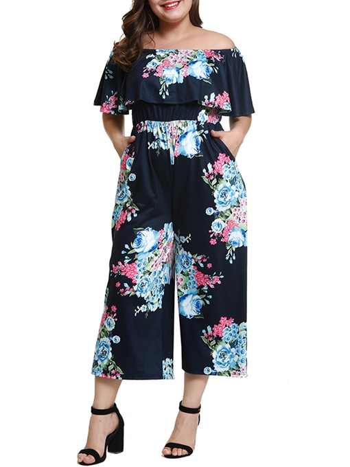 Plus Size Floral Print Off Shoulder Women's Jumpsuit
