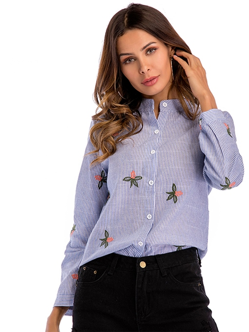 Stripe Floral Embroidery Women's Shirt