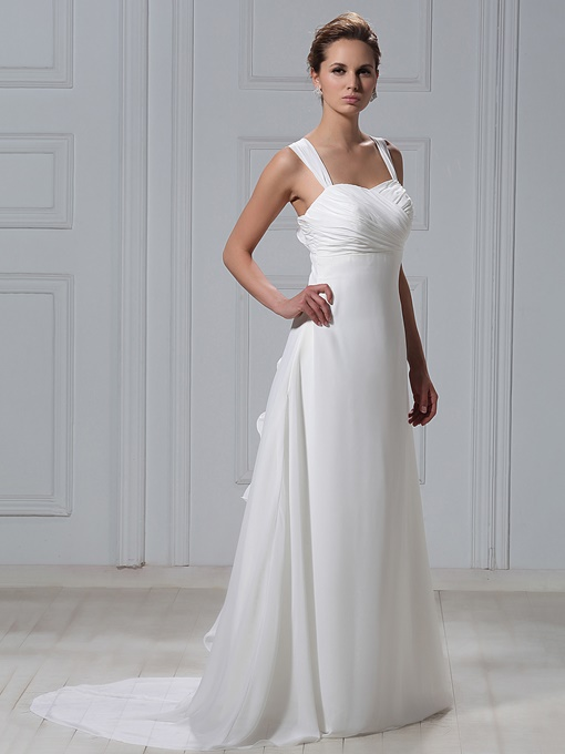 Sheath Straps Ruffles Beach Wedding Dress