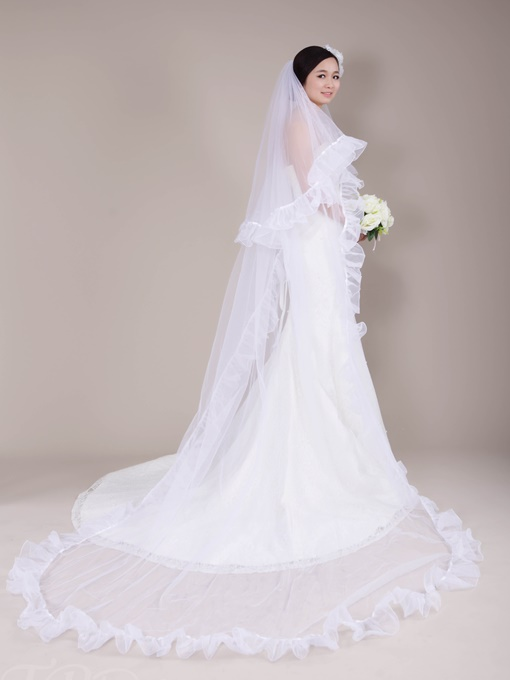 Ruffles Edge Chapel Length Wedding Veil