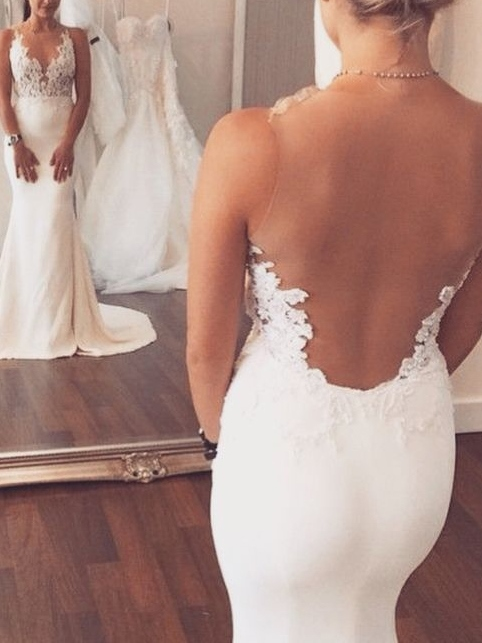 Sheer Back Appliques Mermaid Wedding Dress