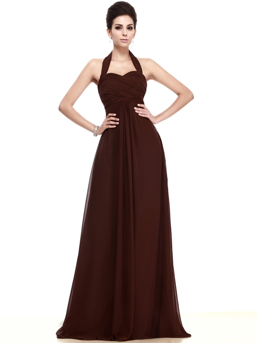 Ruched Empire Waist Halter Long Bridesmaid Dress