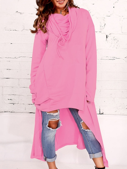Plain Long Sleeve Asymmetric Hem Women's Hoodie