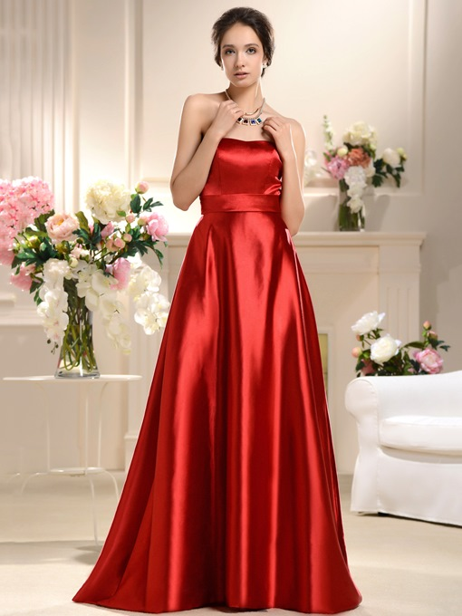 A-Line Strapless Bowknot Bridesmaid Dress