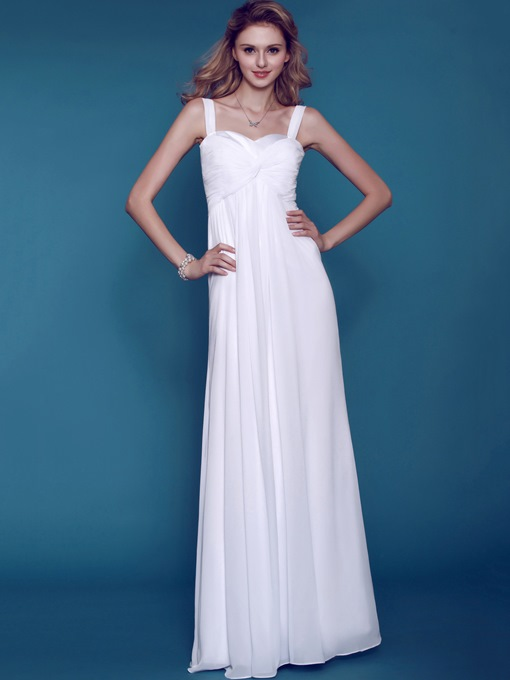 Empire Waist Straps Beach Wedding Dress