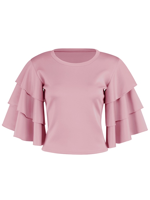 Ruffle Sleeve Slim Blouse Women's Summer Sweater