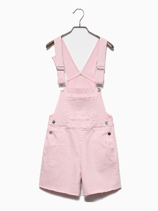 Plain Denim Short Pocket Women's Overalls