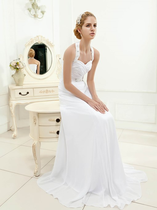 A-Line Halter Beaded Beach Wedding Dress