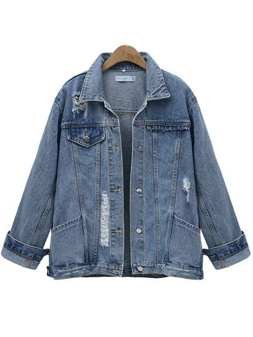 Plus Size Ripped Pocket Women's Denim Jacket