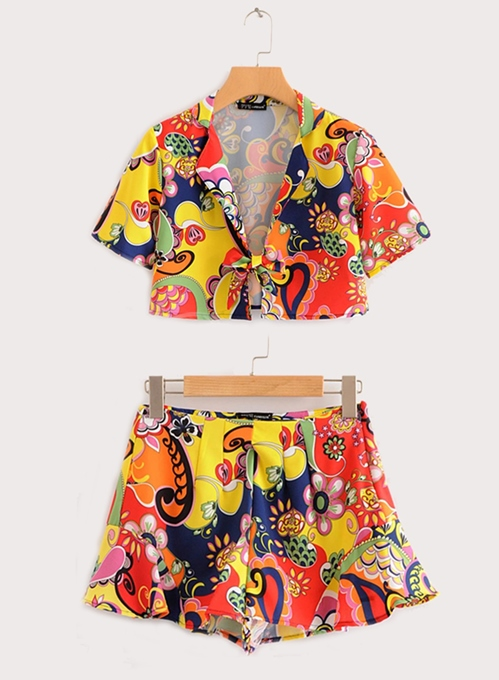 Floral Print Lapel Shirt with Shorts Women's Two Piece Set