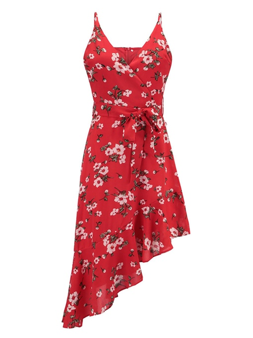 Red Floral Asym Women's Party Dress
