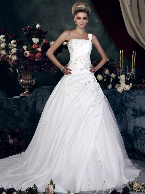 One Shoulder Embroidery Beading Pick-Ups Wedding Dress