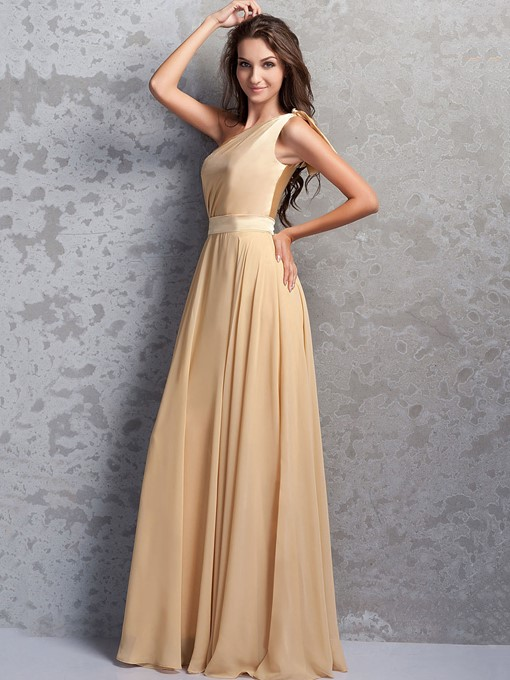 One-Shoulder Bow Long Bridesmaid Dress