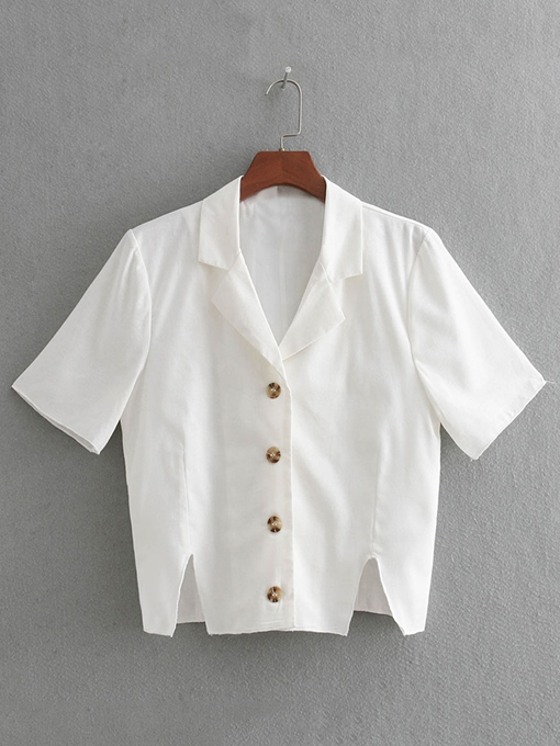 Notched Lapel Single-Breasted Women's Shirt