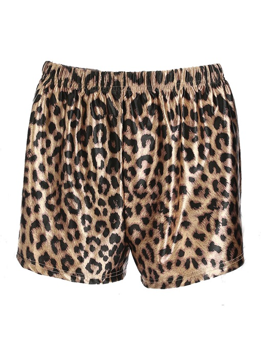 Leopard Print Loose Straight Women's Shorts