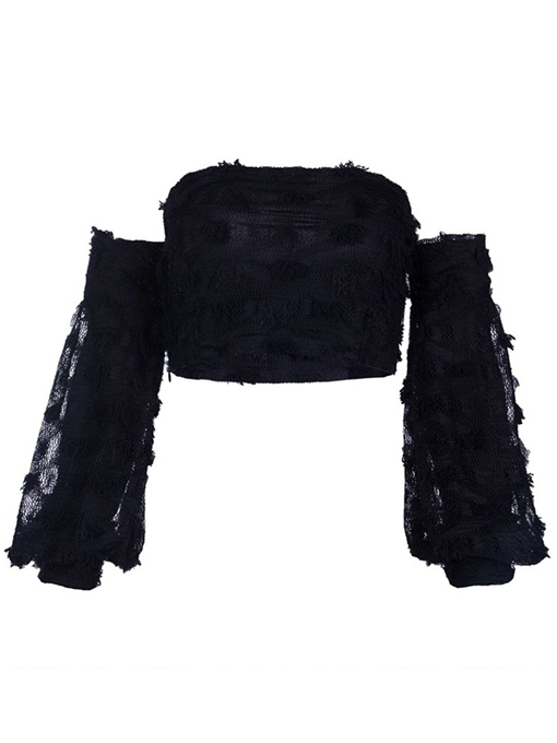 Off Shoulder Lace Patchwork Women's Crop Top