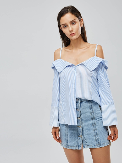 Straps Off Shoulder Stripe Print Women's Shirt