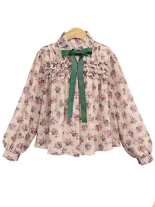 Bow Tie Neck Ruched Floral Women's Blouse