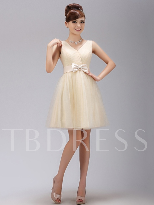 V-Neck Bowknot Short Bridesmaid Dress