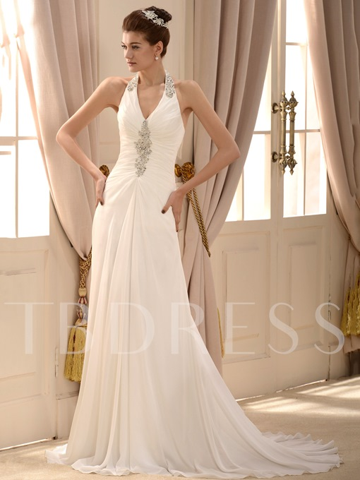 Halter Sheath Beaded Beach Wedding Dress