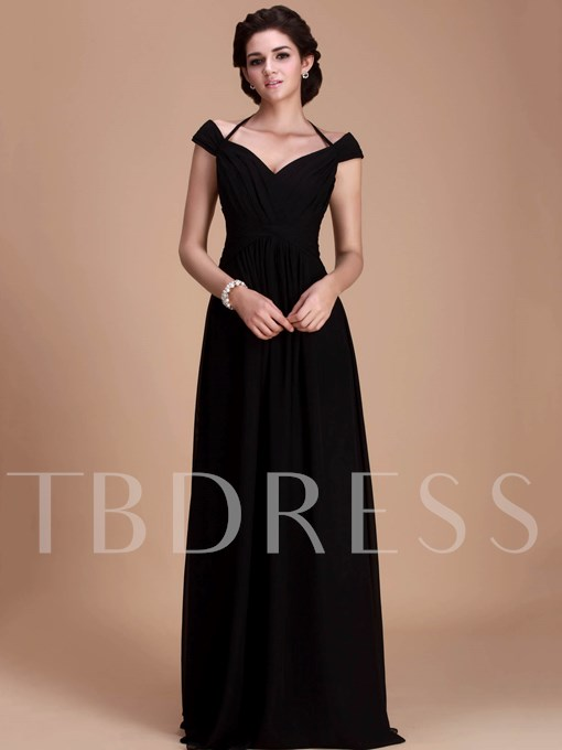 Halter Off-the-Shoulder Long Bridesmaid Dress