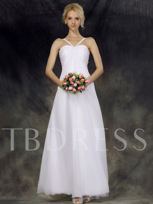 Empire Halter Ankel Length Beach Wedding Dress