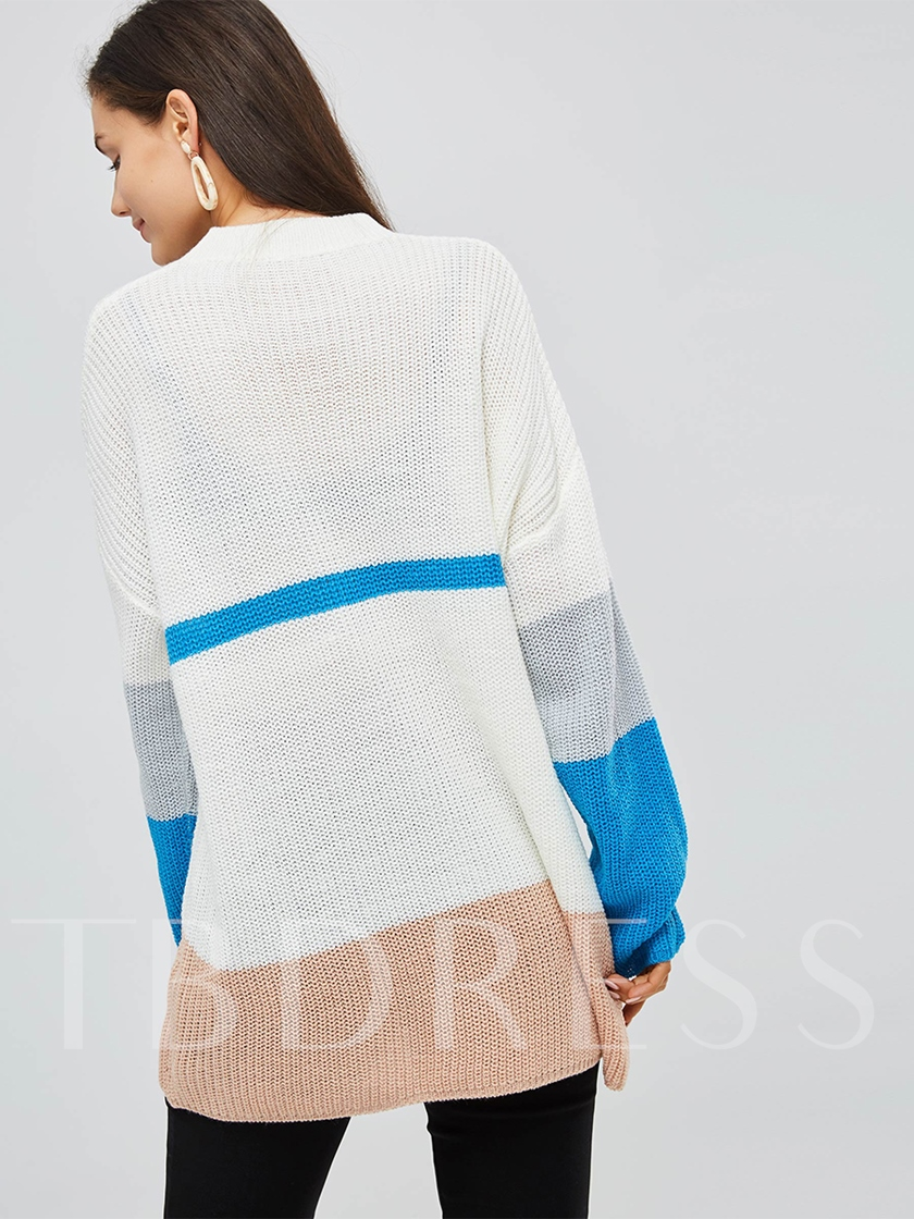 Color Block Mid Length Round Neck Women's Sweater