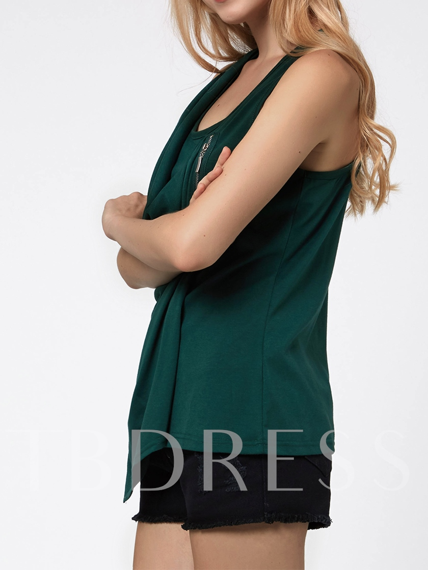 Solid Color Pleated Straight Sleeveless Women's Tank Top