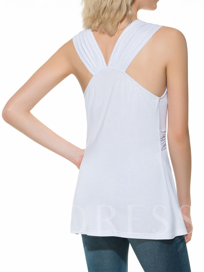 Plain V-Neck Pleated Sleeveless Women's Shirt