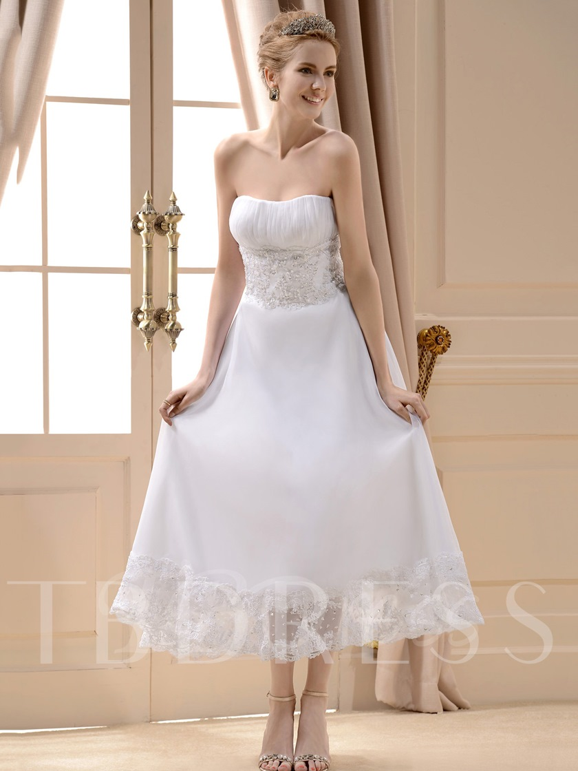 A Line Strapless Tea Length Beach Wedding Dress Tbdress