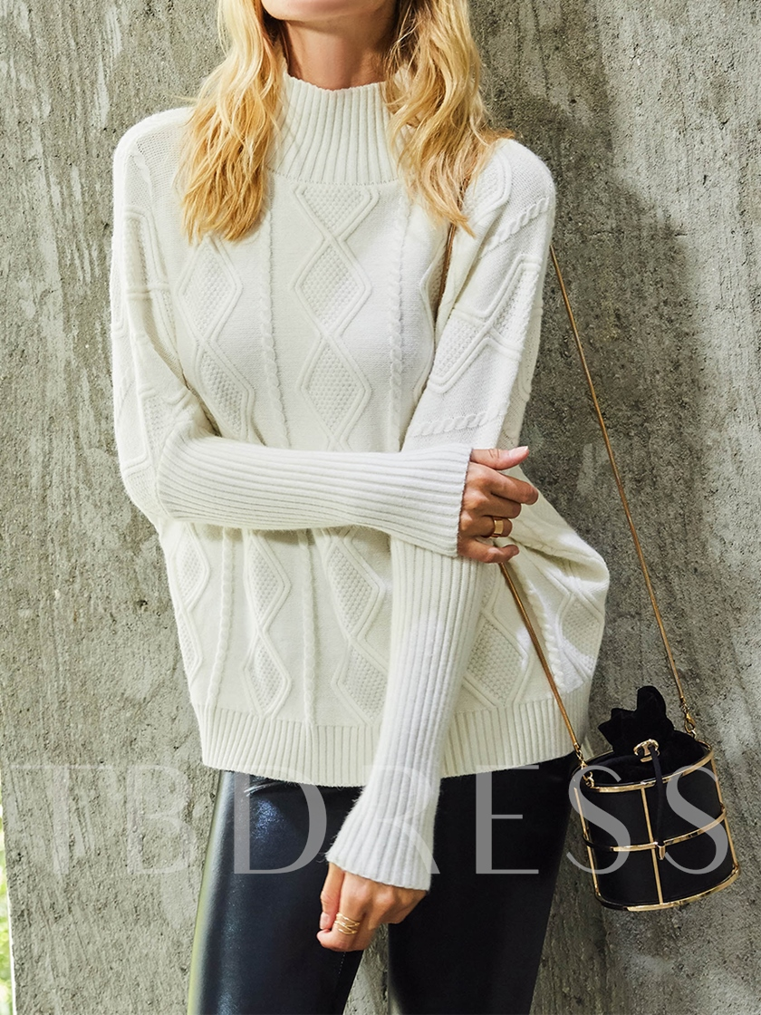 Turtleneck Thread Plain Women's Sweater