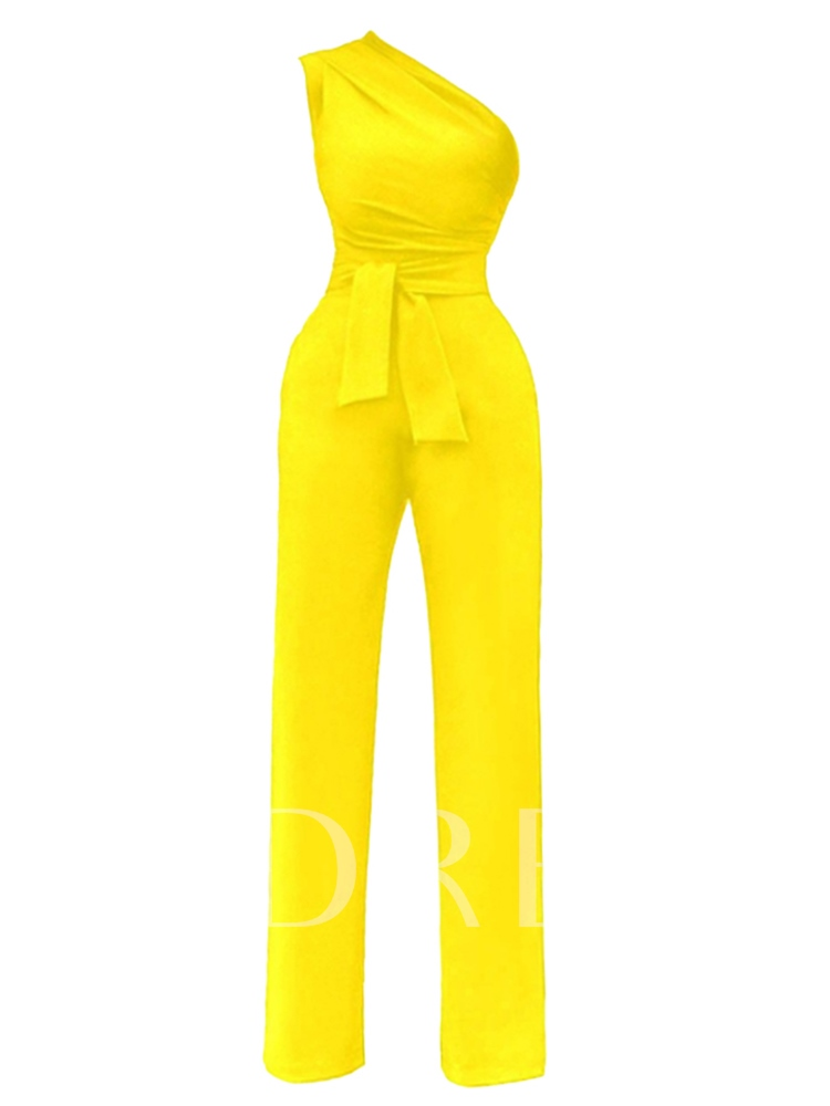 Slim Inclined Shoulder Plain High-Waist Lace-Up Women's Jumpsuit