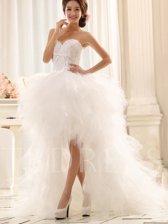 Feather Beading High Low Beach Wedding Dress