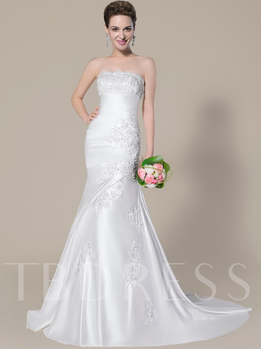 Strapless Appliques Sequins Mermaid Wedding Dress