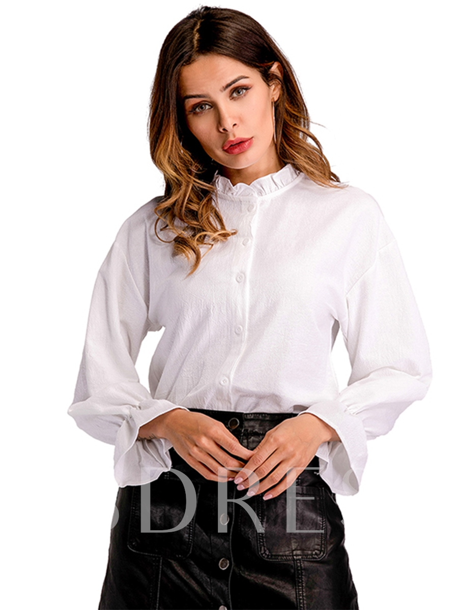 Buy Frill Single-Breasted Flare Sleeve Women's Shirt, Spring,Fall, 13339281 for $14.07 in TBDress store