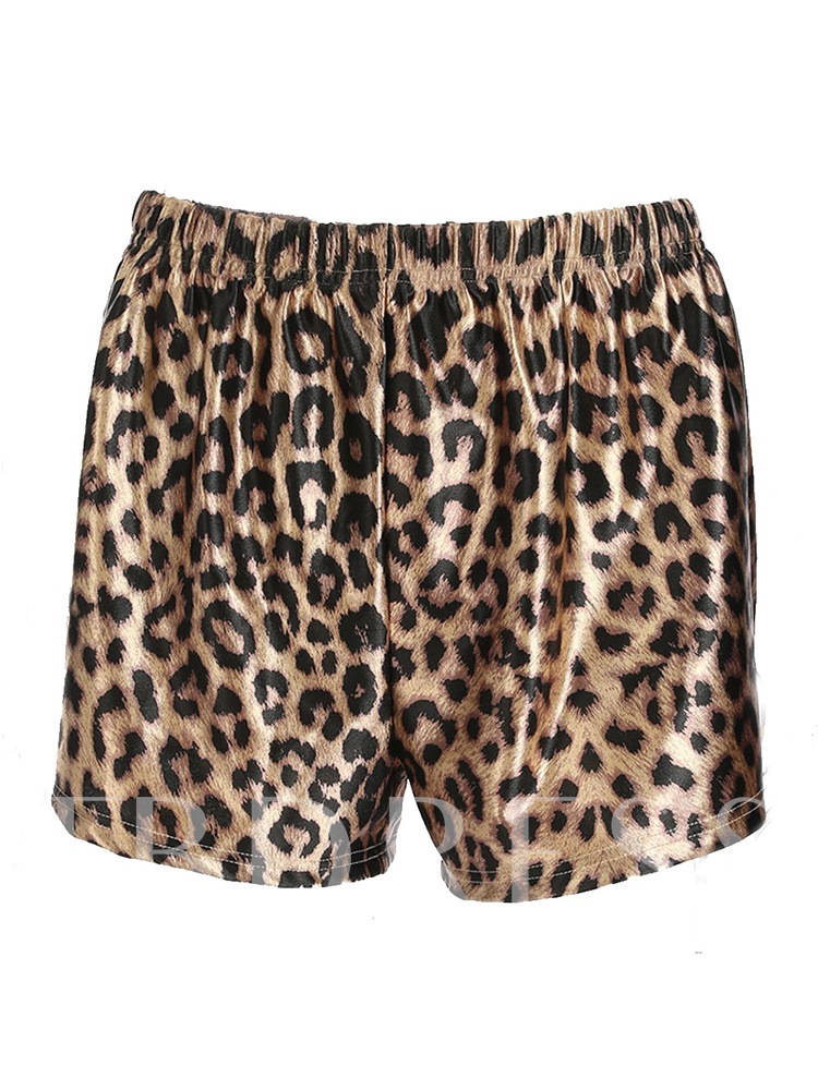 Buy Leopard Print Loose Straight Women's Shorts, Summer, 13333935 for $10.63 in TBDress store