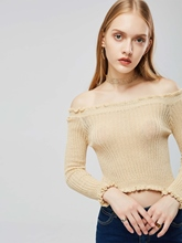Frilled Off Shoulder Plain Solid Color Women's Sweater