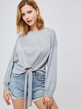 Tie Front Scoop Neck Long Sleeve Women's Sweatshirt