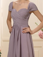 Cap Sleeve Pleats Plus Size Mother of the Bride Dress