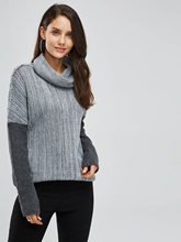Pullover Color Block High Collar Women's Sweater