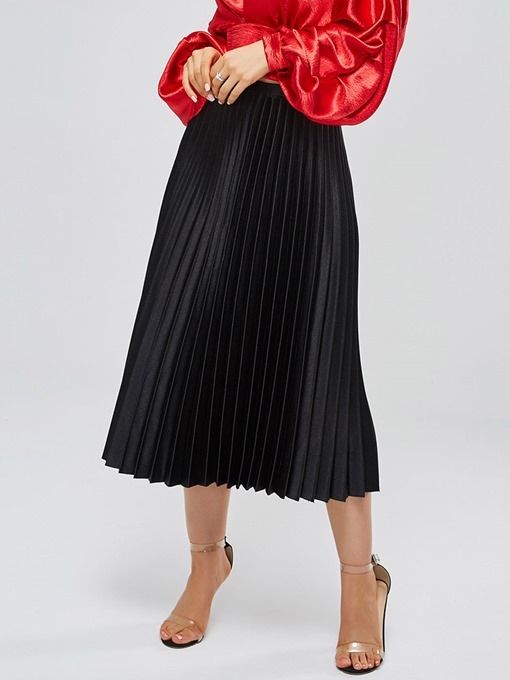 Mid Calf Plain Pleated Women's Skirt