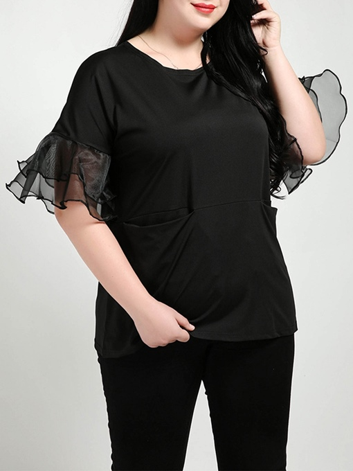 Plus Size Ruffle Sleeve Mesh Patchwork Women's T Shirt