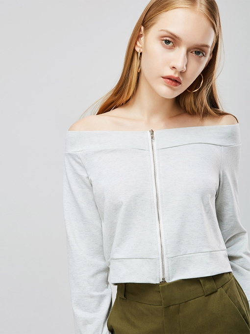 Off Shoulde Zipper Up Long Sleeve Women's Blouse
